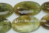 COP555 15.5 inches 20*30mm oval yellow & green natural opal beads