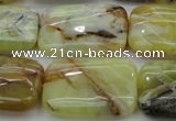 COP571 15.5 inches 20*30mm rectangle natural yellow & green opal beads