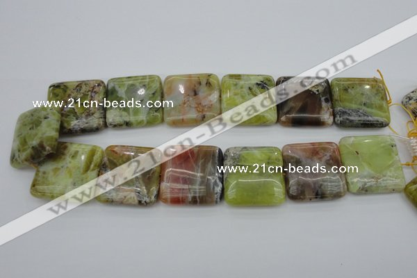 COP582 15.5 inches 30*30mm square natural yellow & green opal beads