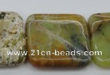 COP583 15.5 inches 35*35mm square natural yellow & green opal beads