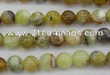 COP588 15.5 inches 8mm round natural yellow & green opal beads