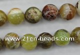 COP590 15.5 inches 12mm round natural yellow & green opal beads