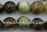 COP592 15.5 inches 16mm round natural yellow & green opal beads