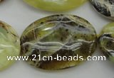COP593 15.5 inches 25*35mm oval natural yellow & green opal beads