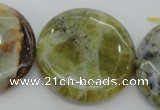 COP597 15.5 inches 35mm flat round natural yellow & green opal beads