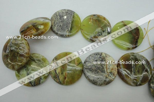 COP598 15.5 inches 45mm flat round natural yellow & green opal beads