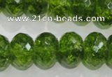 COQ103 15.5 inches 12*16mm faceted rondelle dyed olive quartz beads