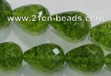 COQ112 15.5 inches 15*20mm faceted teardrop dyed olive quartz beads