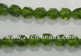 COQ116 15.5 inches 8mm faceted nuggets dyed olive quartz beads