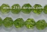 COQ117 15.5 inches 10mm faceted nuggets dyed olive quartz beads