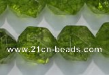 COQ121 15.5 inches 18mm faceted nuggets dyed olive quartz beads