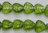 COQ30 15.5 inches 14*14mm heart dyed olive quartz beads wholesale
