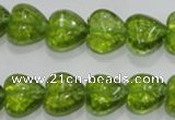 COQ31 15.5 inches 16*16mm heart dyed olive quartz beads wholesale