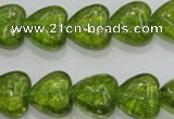 COQ33 15.5 inches 20*20mm heart dyed olive quartz beads wholesale