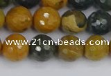 COS203 15.5 inches 10mm faceted round ocean jasper beads
