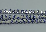 CPB505 15.5 inches 14mm round Painted porcelain beads