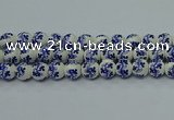 CPB514 15.5 inches 12mm round Painted porcelain beads