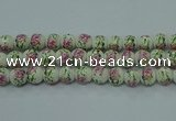CPB684 15.5 inches 12mm round Painted porcelain beads