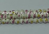 CPB691 15.5 inches 6mm round Painted porcelain beads
