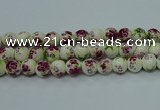 CPB701 15.5 inches 6mm round Painted porcelain beads
