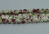 CPB702 15.5 inches 8mm round Painted porcelain beads