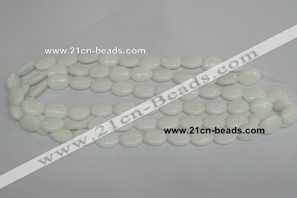 CPB85 15.5 inches 10*14mm oval white porcelain beads wholesale