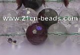 CPC12 15.5 inches 10mm faceted round green phantom quartz beads
