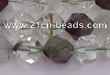CPC18 15.5 inches 12mm faceted nuggets green phantom quartz beads