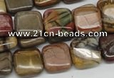 CPJ06 15.5 inches 14*14mm square picasso jasper beads wholesale