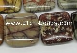 CPJ07 15.5 inches 25*25mm square picasso jasper beads wholesale