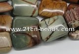 CPJ11 15.5 inches 15*20mm rectangle picasso jasper beads wholesale