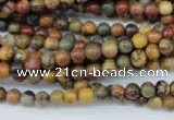 CPJ151 15.5 inches 4mm round picasso jasper gemstone beads