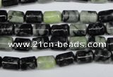 CPJ210 15.5 inches 6*9mm column green picasso jasper beads