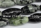 CPJ211 15.5 inches 12*24mm rice green picasso jasper beads