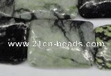 CPJ235 15.5 inches 25*30mm rectangle green picasso jasper beads