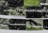 CPJ238 15.5 inches 13*20mm flat tube green picasso jasper beads