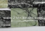 CPJ239 15.5 inches 22*30mm flat tube green picasso jasper beads