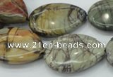 CPJ30 15.5 inches 22*30mm flat teardrop picasso jasper beads wholesale