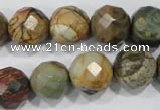 CPJ304 15.5 inches 14mm faceted round picasso jasper beads wholesale