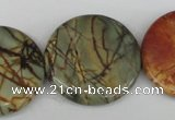 CPJ353 15.5 inches 30mm flat round picasso jasper gemstone beads
