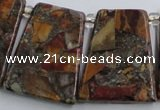 CPJ378 Top drilled 22*26mm trapezoid picasso jasper & pyrite beads