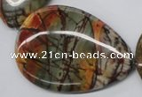 CPJ38 15.5 inches 40*60mm flat teardrop picasso jasper beads wholesale