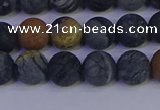 CPJ493 15.5 inches 10mm round matte black picasso jasper beads