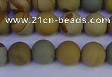 CPJ523 15.5 inches 10mm round matte wildhorse picture jasper beads
