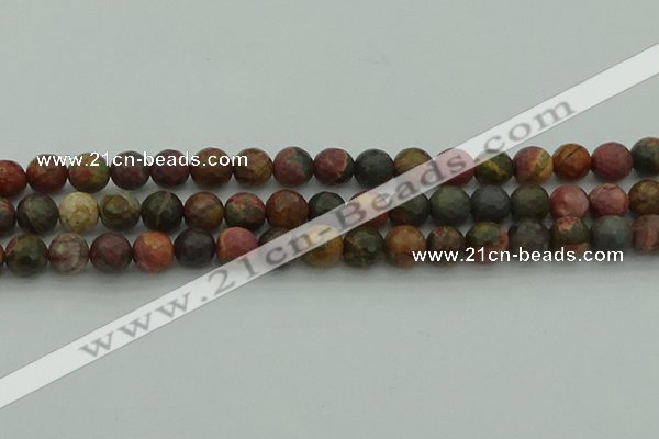 CPJ532 15.5 inches 8mm faceted round picasso jasper beads