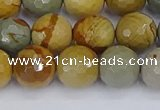 CPJ543 15.5 inches 10mm faceted round wildhorse picture jasper beads