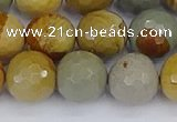 CPJ544 15.5 inches 12mm faceted round wildhorse picture jasper beads
