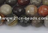 CPJ549 15.5 inches 10mm faceted round polychrome jasper beads