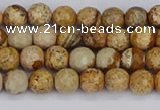 CPJ555 15.5 inches 4mm faceted round picture jasper beads