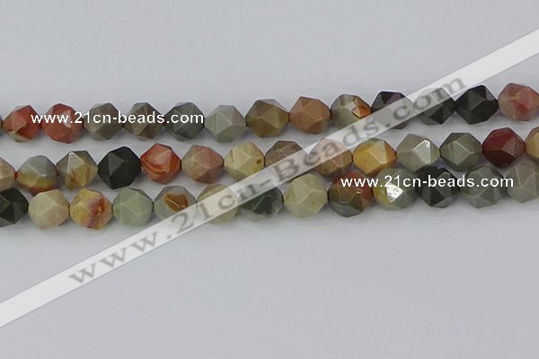 CPJ567 15.5 inches 12mm faceted nuggets polychrome jasper beads